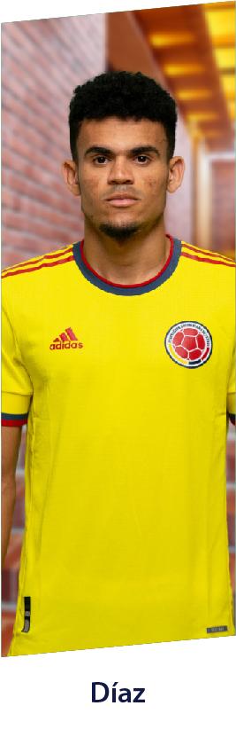 Luis Díaz con la camiseta de la Selección Colombia adidas, productos del jugador.